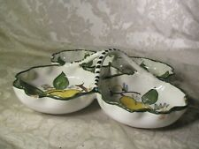 Vintage 4 Divided Hand Painted Ceramic Relish Serving Tray Italy Pears