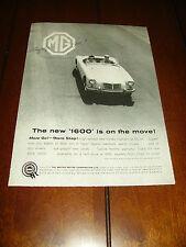 1960 MGA 1600  ***ORIGINAL VINTAGE AD***