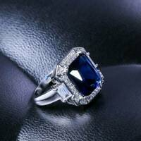 Fashion Women 925 Silver Jewelry Wedding Ring Blue Sapphire Ring Size 6-10 L7