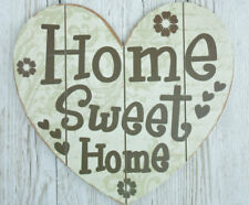 """Heart Shaped Wall Plaque """"Home Sweet Home"""" Sign Wooden Cream 36cm SG1907B"""