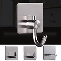 1PC Self Adhesive Bathroom Wall Door Stainless Steel Holder Hook Hanger Hooks