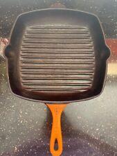 Le Creuset Volcanic Orange Cast Iron Griddle Grill Pan Square Vintage