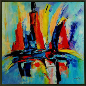 """""""Splashes (Abstract Sails)"""" by Duaiv (Framed Fine Art on Canvas)"""