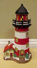 "11.5"" Bayside Lighthouse Porcelain Lamp Light Santa's Workbench Towne Series"