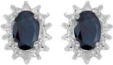 14k White Gold Oval Sapphire And Diamond Earrings (CM-E1342XW-09)