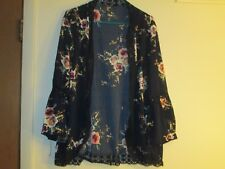 Womens Cardigan  3X Navy Blue Long sleeve Open front  Floral