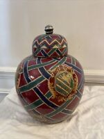 Oklahoma Importing Ginger Jar Hand Painted Criss-Cross Design w/Lion crest