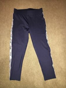 Ladies Navy Fila 3/4 Exercise Compression XS High Waist Running Yoga Cycling