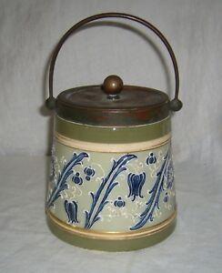 ANTIQUE 1890s MACINTYRE & CO HARRY BARNARD FAIENCE POTTERY MOORCROFT BISCUIT JAR