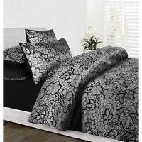 EMMA Black Silver Jacquard Quilt Doona Cover Set - SINGLE, DOUBLE, QUEEN, KING