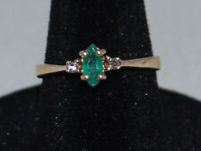10k Gold Ring with a Solitaire Emerald(May Birthstone) and Small Diamond Accents