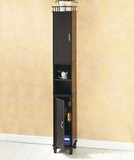 "NEW 65"" Slim Storage Cabinet Kitchen Bath Room Laundry Narrow Pantry Tower BLACK"