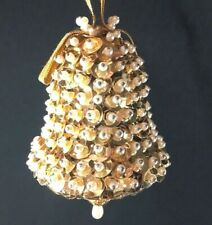 Vintage Handmade Beaded & Sequined Bell Shaped Christmas Ornament Gorgeous Gold