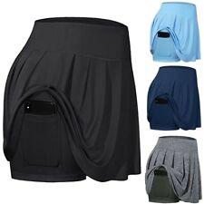 Women's Tennis Skirts Run yoga Inner Shorts Elastic Sports Golf Pockets Skorts