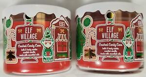 Bath Body Works Candle ELF VILLAGE: CRUSHED CANDY CANE Scented 3-wick Jars x2