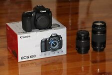 NEW Canon EOS 60D DSLR 18.0 MP SLR With 18-55mm + 75-300mm Lens (4 LENSES)