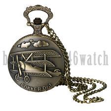 Antique Retro Aircraft Case Quartz Pocket Watch Pendant Necklace Chain Vintage