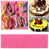 3D Music Note Lace Silicone Fondant Mat Cake Decorating Sugarcraft Mould Tools