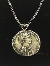 """Silver Tetradrachm Coin WC71  Pewter On a 16"""" Silver Plated Chain Necklace"""