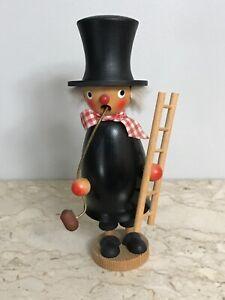 Vintage German Erzgebirge HR Wooden Chimney Sweep Figure Smoker Incense Burner