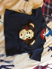 Olive & Moss Michael The Monkey 3-4 Years Navy T-shirt Boy Girl