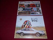 1977 PLYMOUTH VOLARE, ROAD RUNNER Etc. 20-p. BROCHURE + 20 p. FULL 77 CATALOG