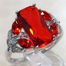 Luxurious 925 Silver Large Red Ruby Engagement Ring Women Wedding Band Size 6-10