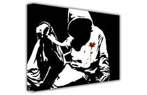 BANKSY CANVAS PRINTS HOODED MAN WITH KNIFE WALL ART PICTURES CONTEMPORARY POSTER
