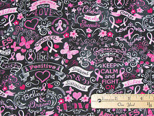 Black Pink Ribbon Keep Calm Breast Cancer Survivor Fabric by the 1/2 Yard  C3999