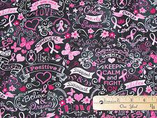 Black Pink Ribbon Keep Calm Breast Cancer Survivor Fabric by the 1/2 Yard  C3999