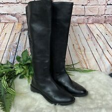 Gianni Bini Black Alybeth Embroidered Leather Stovepipe Boots Womens Size 6