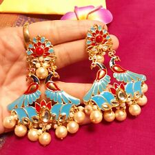 Ethnic Meenakari Indian Earrings/Ethnic Pearl Drop Peacock Kundan Earrings