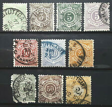 German States Wurttemberg Germany Stamp 1875-1900 Lot of 10 Scott # 56//71 Used