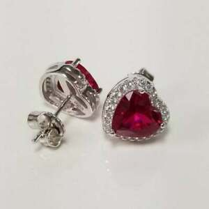 4Ct Heart Cut Red Ruby Push Back Woman's Halo Stud Earrings 18K White Gold Over