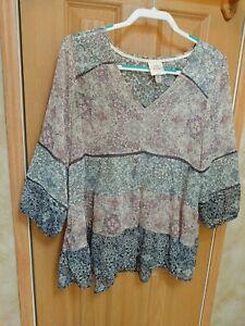 Knox Rose Womens Boho Swing top size XL babydoll gathered layers