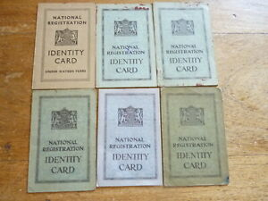 6 X NATIONAL REGISTRATION CARDS MIXED CONDITION