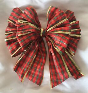 """Xmas tree top bow  Red Tartan/gold edge  8"""" wide wired edge bow"""
