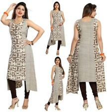 Beige Indian Pakistani Designer Party Kurta Kurti Tunic Top Dress Women SC492