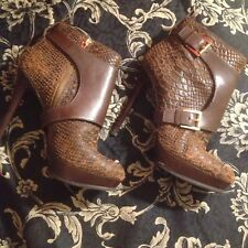 Michael Kors Brown Suede Snakeskin High Heel Ankle Boots W/ Spats-Booties 9M