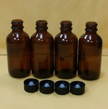 4 pcs AMBER 2 oz 60 ml Clear Boston Round Glass Bottles With Black Cap FREE SHIP