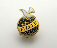 1960's FDIF East German Democratic International Federation Enameled Pin Brooch