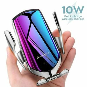 Qi Auto Wireless Charger Handy Halterung Induktions Ladegerät Clamping KFZ R2