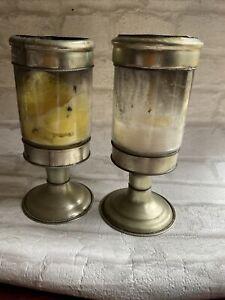 PAIR LARGE VINTAGE CHURCH PILLAR CANDLE GOBLET HOLDER/ GLASS CANDLE HOLDER