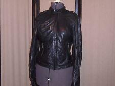 Sanctuary Clothing Black Leather Cafe Racer Moto Jacket Women's Size Medium NWOT