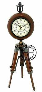 "18"" Antique Brass Wooden Desk Clock Adjustable Tripod Stand Nautical Marine Arts"
