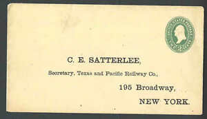 1884 U312 2c Green On Amber Mint Entire Die 88 Size 10 Preprinted Address To----