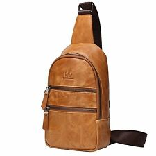 Mens Leather Shoulder Bag Crossbody Sling Hiking Satchel Chest Bags Pack Small
