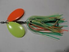 MUSKY  PIKE BUCKTAIL SPINNER BAIT LURE DOUBLE INDIANA BLADES FIRETIGER SKIRT