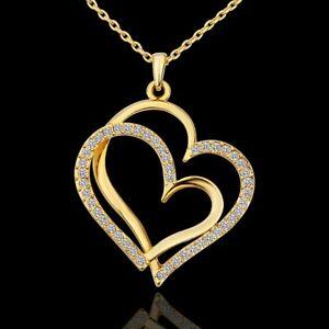 ASAMO Damen Halskette mit Herz Anhänger und Zirkonia Steinen Herzkette HG1584