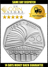 50p Fifty Pence Coin - Public Libraries 2000- FAST FREE DELIVERY KM1004 H11